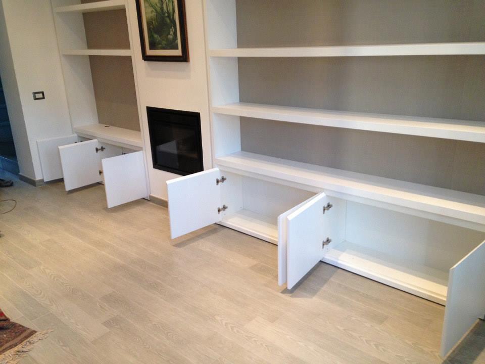 libreria laccata bianco e laminato tessuto wood design