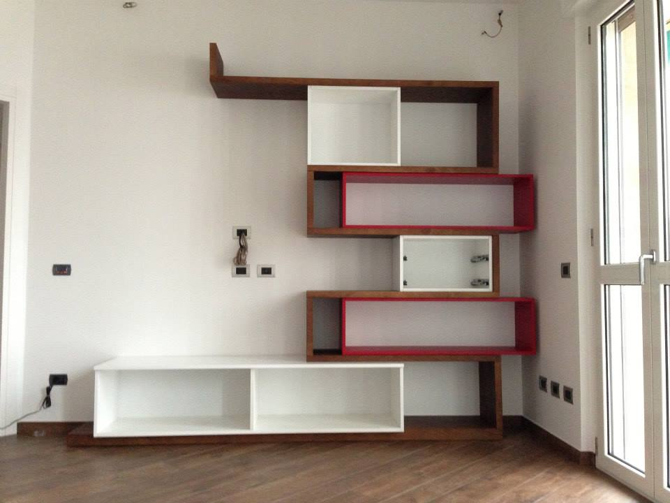 Soggiorno Castagno, Rosso e Bianco Lucido - Wood Design Milano