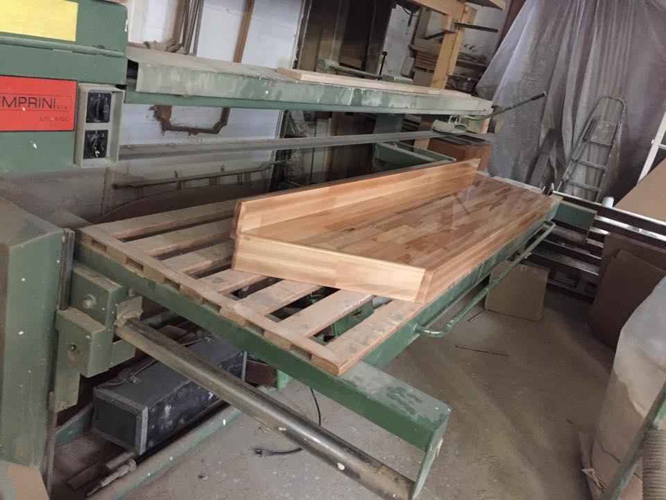 Top piano bagno in lamellare di faggio multicolor wood for Wood design milano